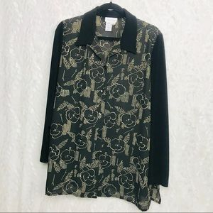 Coldwater Creek black cream floral career Top Lar